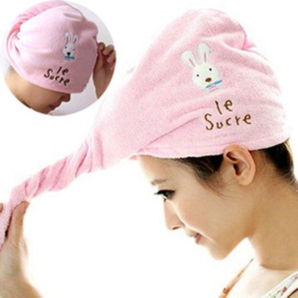 Chartsea Microfiber Hair Turban Quickly Dry Hair Hat Wrapped Towel Bathing Cap (A)