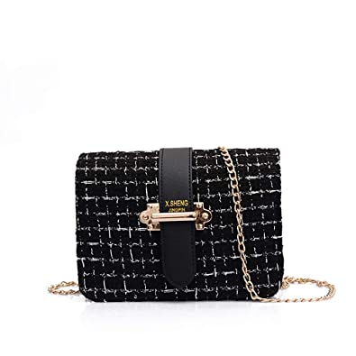 9f2f5089349a Image Unavailable. Image not available for. Color  Women s Tweed Handbag  Quilting Envelope Cross Body Shoulder Bag Chain Bags