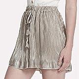 FarJing Big Promotion Women Sexy Pleated Pants Summer Casual Shorts High Waist Short Pants(M,Gold