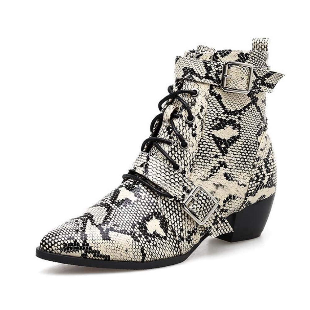 Frauen Sexy Ankle Stiefelie Stiefelie Stiefelie Cross Straps Martin Stiefel 4 5cm Chunkly Heel Pointed Toe Sake Pattern Belt Schnelle Ol Court Schuhe Eu Größe 34-40 e3f307