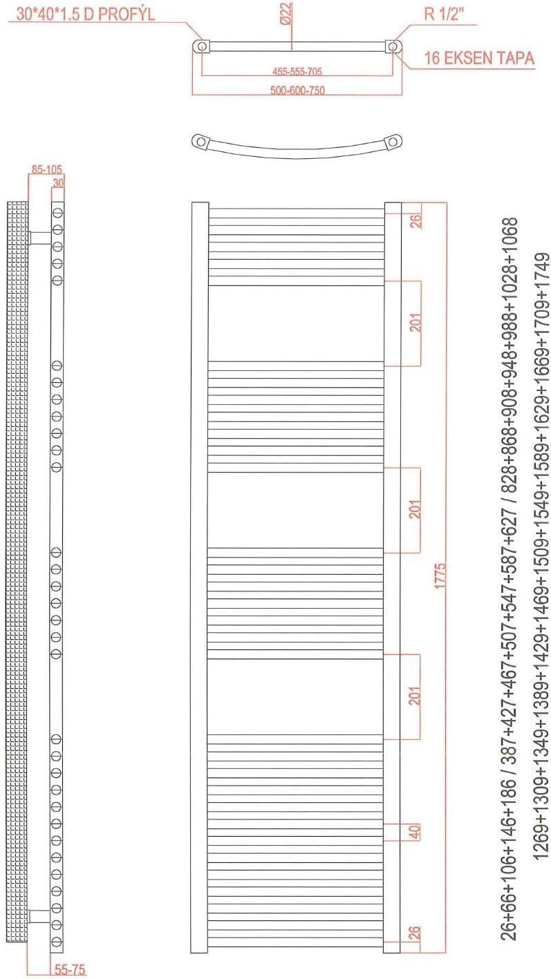 Handtuchhalter gebogen Handtuchtrockner inkl Weiss Heizstab und verschieden w/ählbare Heizpatronen anapont Elektrobadheizk/örper KTX 2, 775h x 500b in verschiedenen Gr/ö/ßen erh/ältlich