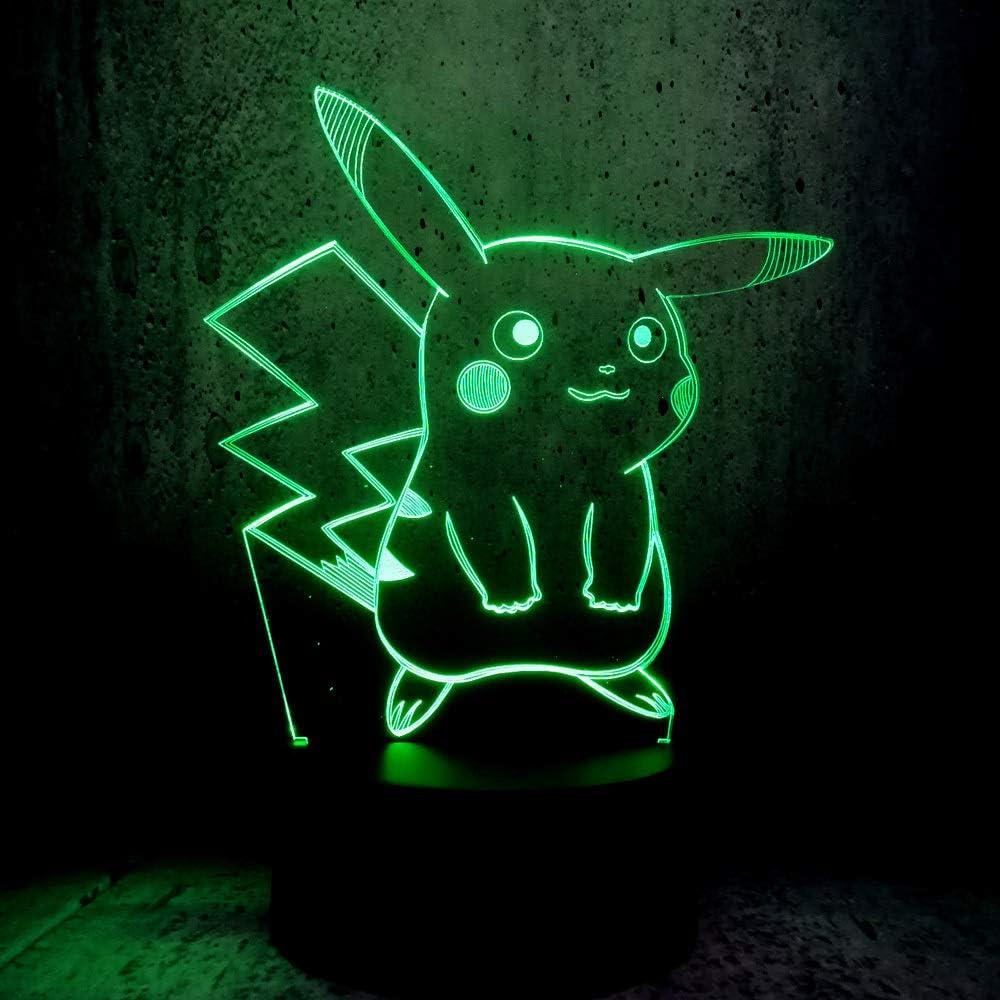wangZJ 2019 Lámpara LED Lámpara 3D USB Night Light Kawaii Pikachu ...