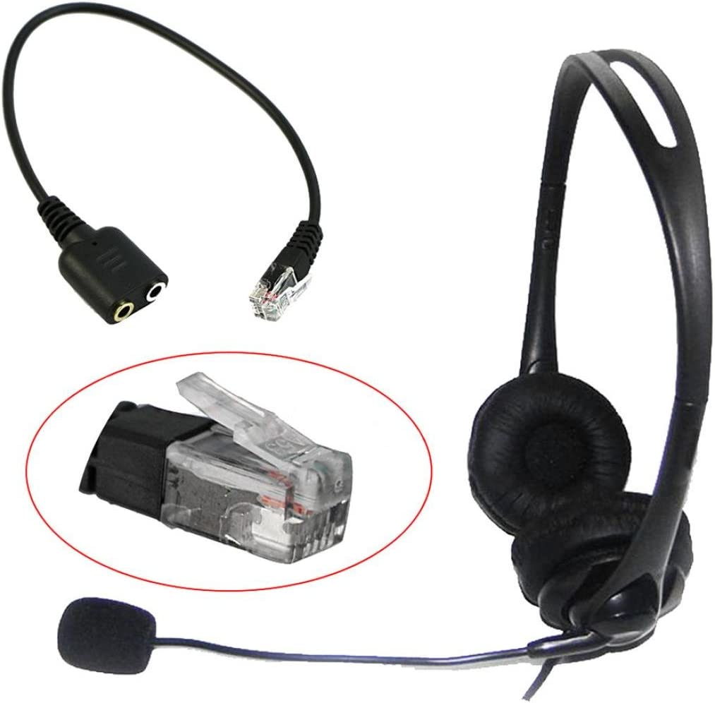 RJ9 Male to Dual 3.5mm Male Adapter for your own Headset Amplifier to Computer