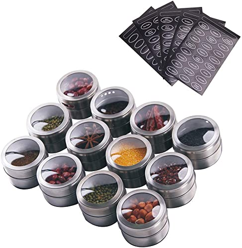 Sanvcomy 12 Powerful Magnetic Spice Tins- Stainless Steel Spice Storage Containers, Kitchen Spice Jars with Clear Lid with Sift Pour, Rack Magnetic on Fridge, 120 Spice Labels