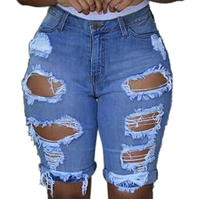 a5d84aaafb K-Youth® Pantalón Corto para Mujer Verano Casual Rotos Vaqueros Flecos Jeans  con Cintura