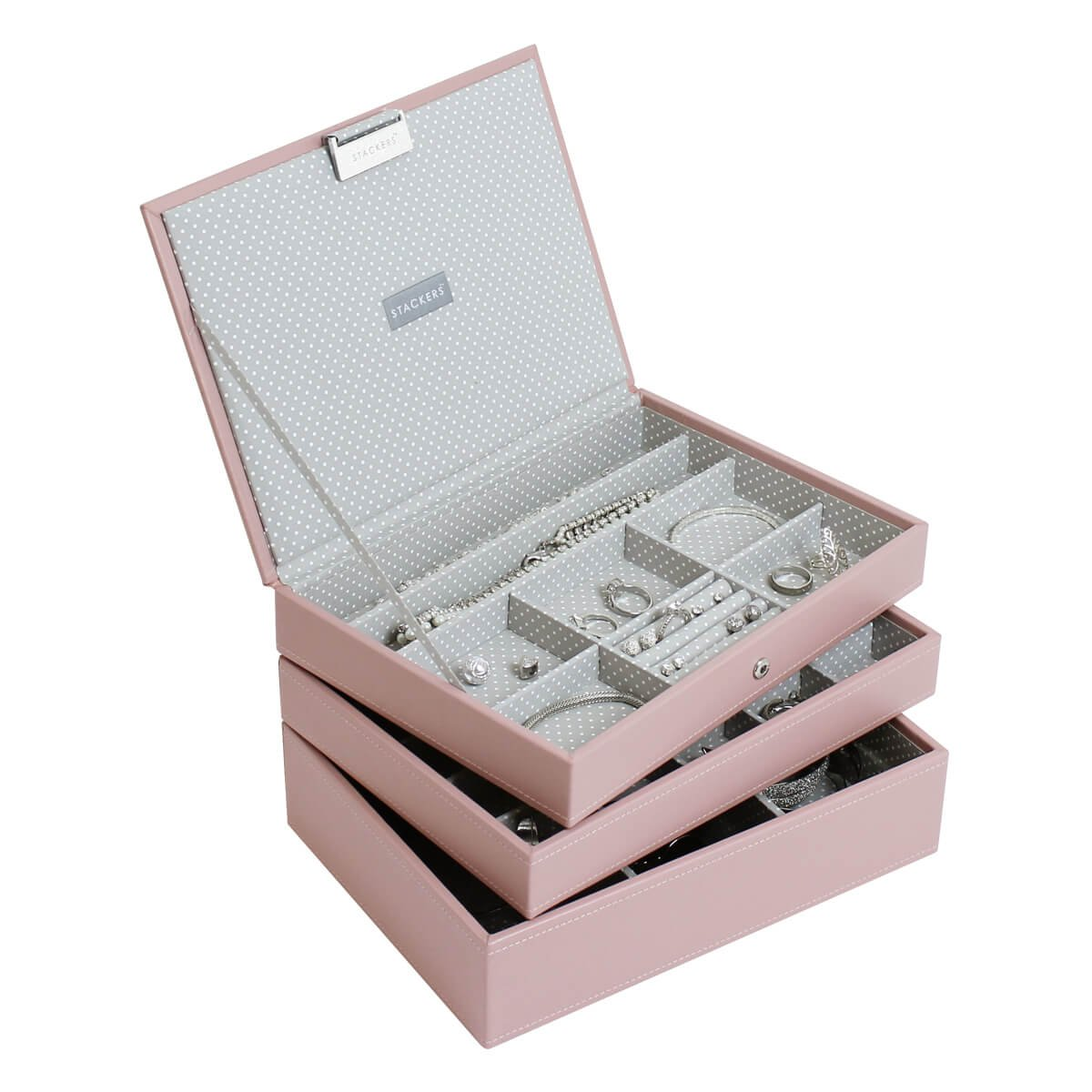 Stackers Soft Pink Classic Jewelry Box - Set of 3 by Stackers