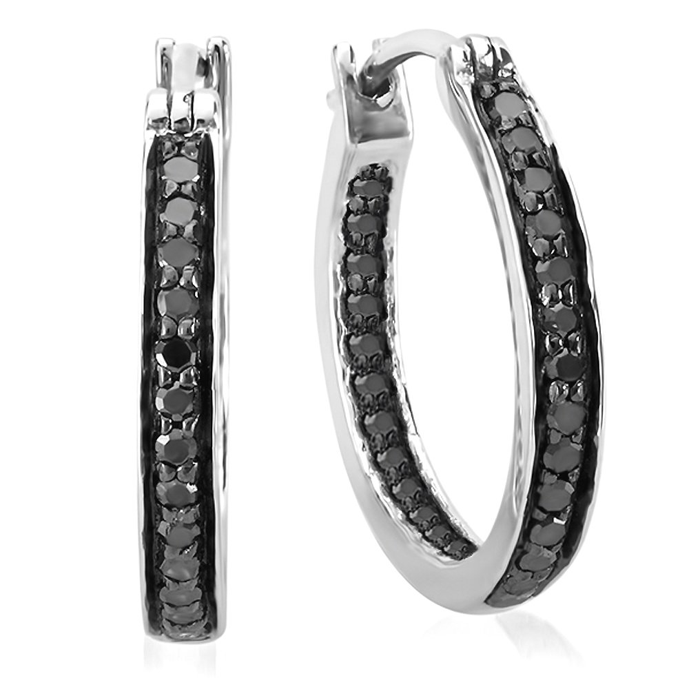 0.38 Carat (ctw) Sterling Silver Round Black Diamond Fine In and Out Huggie Hoop Earrings 3/8 CT by Dazzlingrock Collection (Image #2)