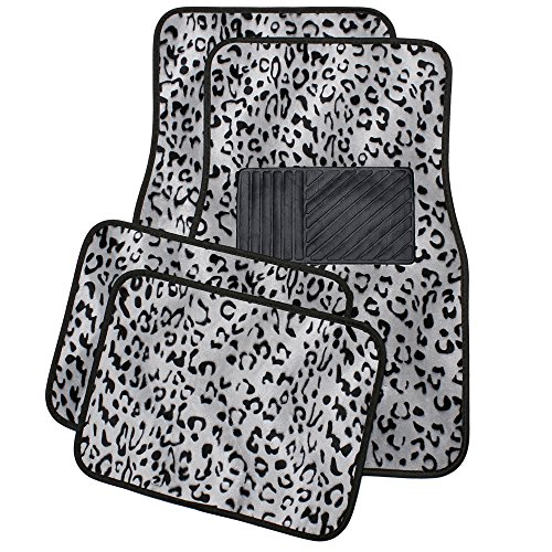 OxGord Universal Fit Front/Back Seat Leopard Carpet Mat - (Gray)