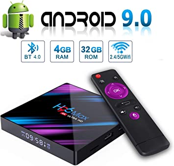 Android 9.0 TV Box H96 MAX 4GB 32GB Android Box USB 3.0 BT 4.0 2.4G 5G Dual WiFi 3D/4K H.265 KD18.1 Smart Android TV Box: Amazon.es: Electrónica
