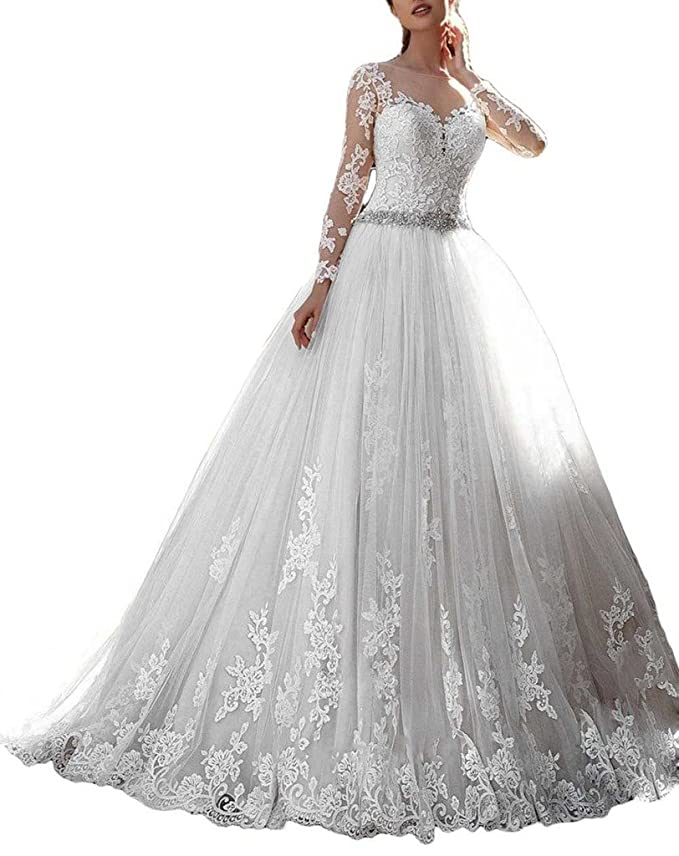 Review Cardol 2017 Women's Lace Wedding Dresses Bridal Gowns Long Sleeves Ball Gowns