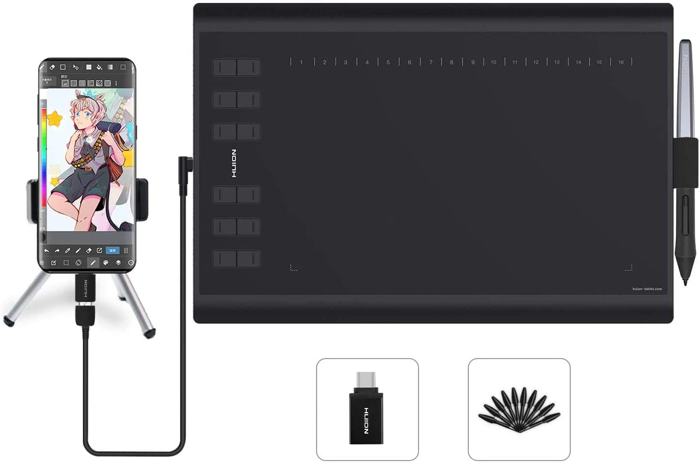 HUION H1060P Tableta gráfica con área de Trabajo de 10 x 6.25 Pulgadas con una Mejora Soporte de lápiz óptico sin batería Enseñanza y Trabajo en línea, y Uso de conferencias Web