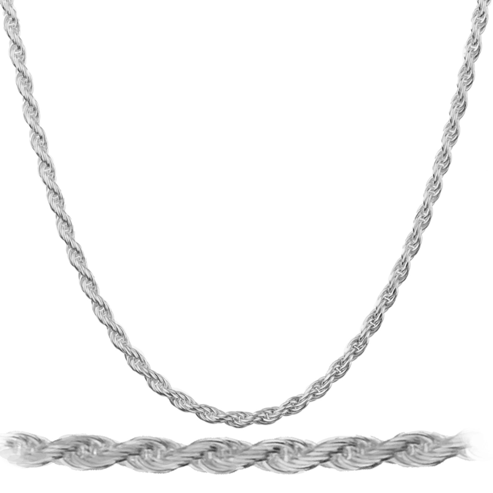JOTW Rhodium Plated Sterling Silver 2mm Rope Chain Necklace - All Lengths Available (24 Inches) (I-3535)