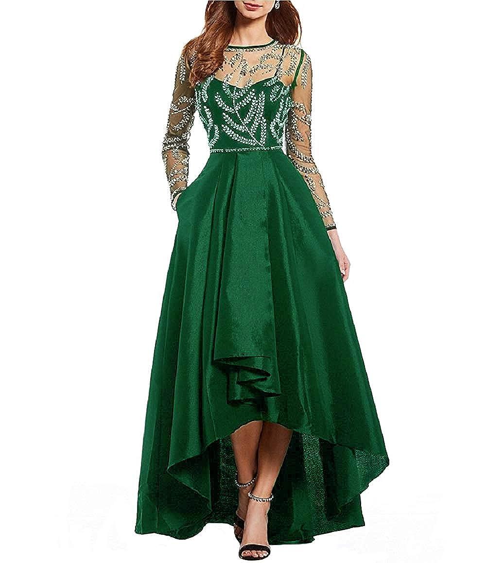 Emerald JINGDRESS Jewel Neck High Low Satin Prom Evening Dress Illusion Long Sleeve Beaded Wedding Party Dress for Women