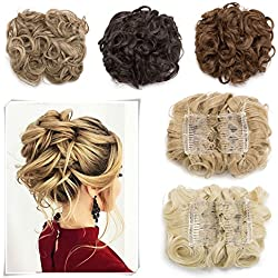 Combs Hair Bun Extensions Curly Messy Chignon Easy Stretch Dish Clip in Updo Hairpiece Ponytail Hair Accessory Scrunchy for Women 95g Natural Black