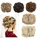 side bun - Elailite Messy Curly Combs Hair Bun Chignon Easy Stretch Hair Combs Dish Hair Extensions Clip in Updo Hairpiece Ponytail Scrunchy Accessory for Women 95g Light Brown