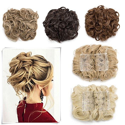 Messy Curly Combs Hair Bun Extensions Easy Stretch Hair Dish Chignon Clip in Updo Hairpiece Ponytail Scrunchy Accessory for Women Golden Blonde Mix Bleach Blonde