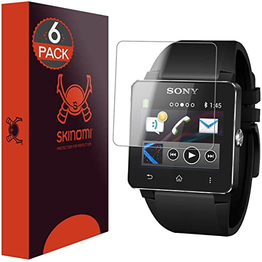 Sony Smartwatch 2 Screen Protector (6-Pack), Skinomi TechSkin Full Coverage Screen Protector for Sony Smartwatch 2 Clear HD Anti-Bubble Film