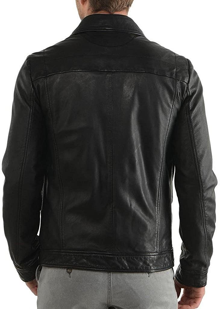Stylish Men Biker Motorcycle Zipper Slim Fit Cow Leather Casual Jacket KC556