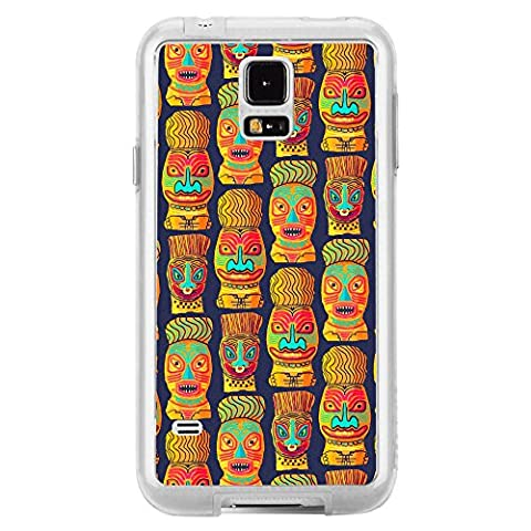 Image Of Colorful Pattern of Tiki with Faces from Tropical Hawaii Samsung Galaxy S5 Clear Phone (Samsung Galaxy S5 Cases Hawaii)