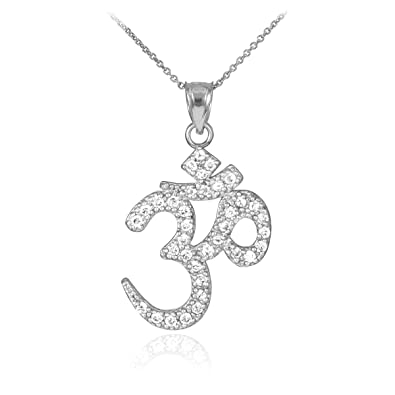 Amazon 14k white gold yoga charm diamond om pendant necklace 14k white gold yoga charm diamond om pendant necklace 16 inches mozeypictures Image collections