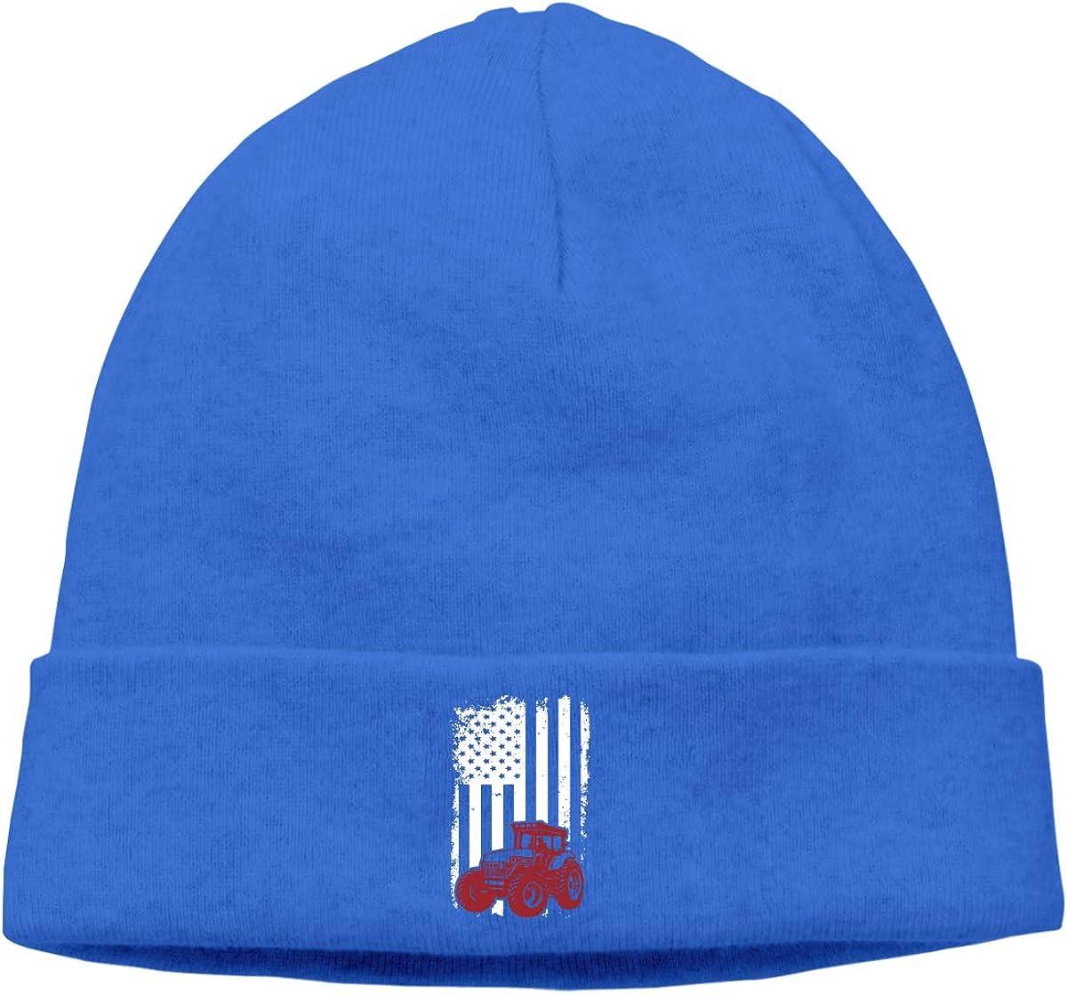 Riokk az American Flag Tractor Skull Caps Beanie Caps for Men Blue