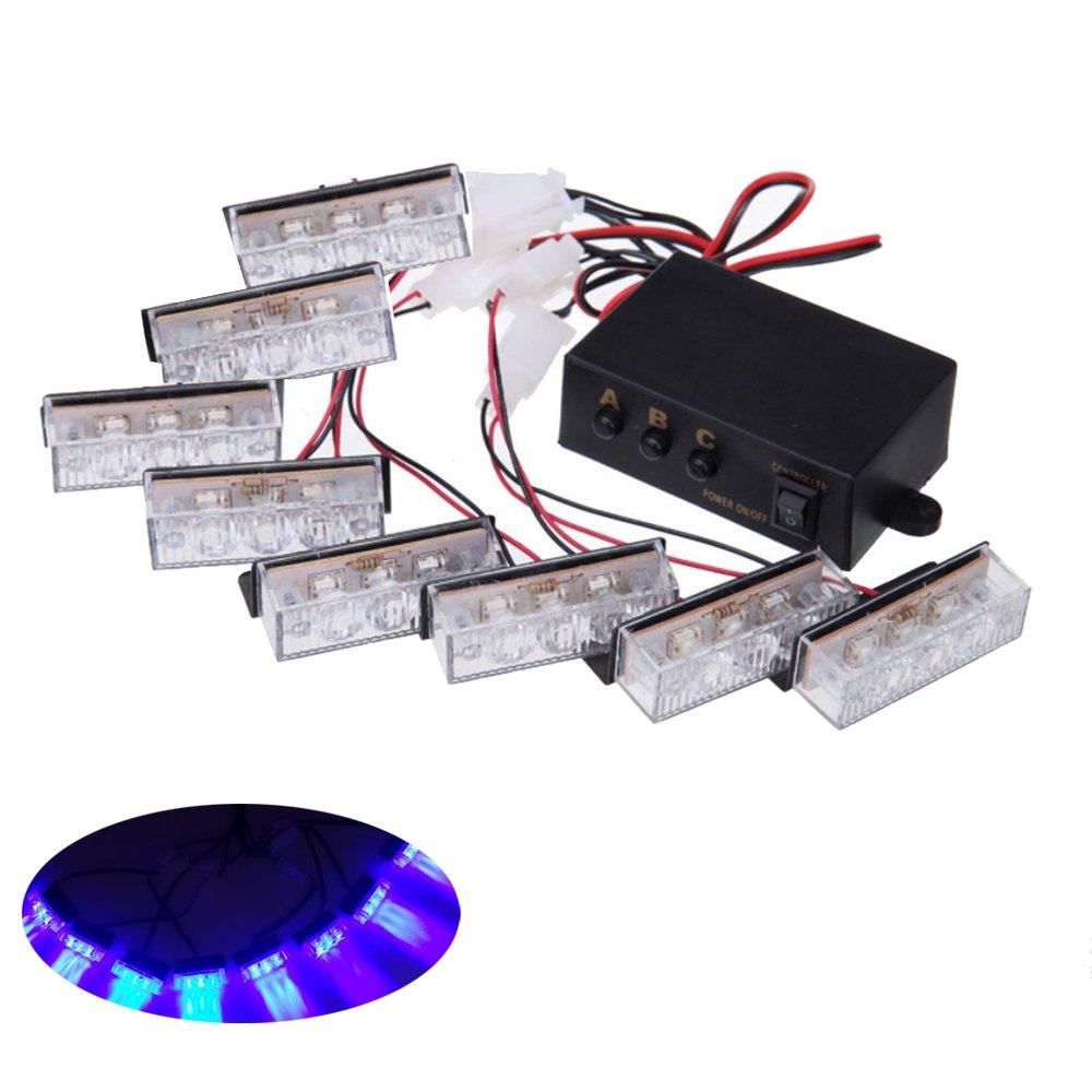 Blue HEHEMM 24 LED car Emergency Hazard Warning Grill Strobe Light with Control Box