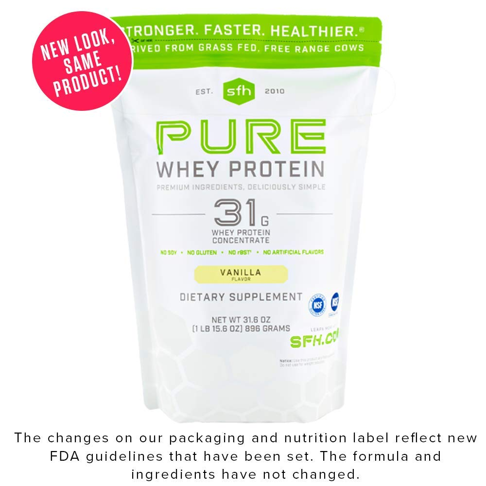 SFH Pure Whey Protein Powder by SFH   Best Tasting 100% Grass Fed Whey   All Natural   100% Non-GMO, No Artificials, Soy Free, Gluten Free (Vanilla, 31.6 Ounce (Pack of 1)) by SFH