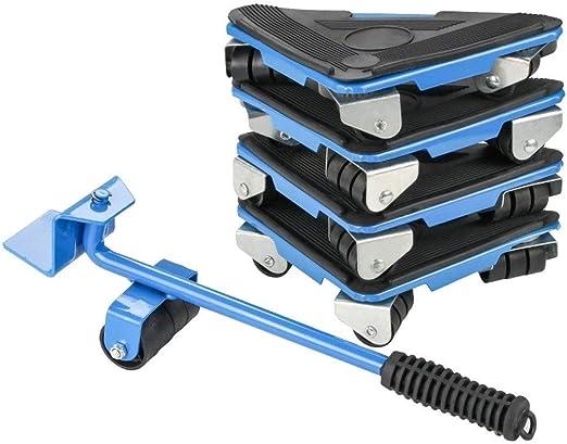 5pcs Furniture Lifter Furniture Slides Mover Rollers 4 Wheeled Corner Hand Tool