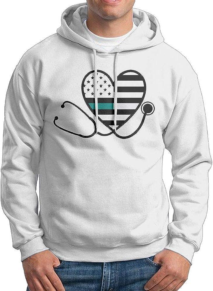 NWYYZDD Big Mens Cervical Cancer Nurse Stethoscop Patterns Print Athletic Pullover Hood Fashion Sweatshirts