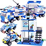 WishaLife 756 Pieces City Police Mobile Command Center Truck Building Toy, Police Car Toy, City Sets...