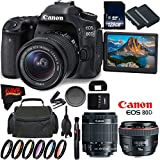 Canon EOS 80D DSLR Camera with 18-55mm Lens 1263C005 (International Version) + Canon EF 50mm f/1.2L USM Lens + 128GB Class 10 Memory Card + LP-E6N Lithium-Ion Battery Bundle