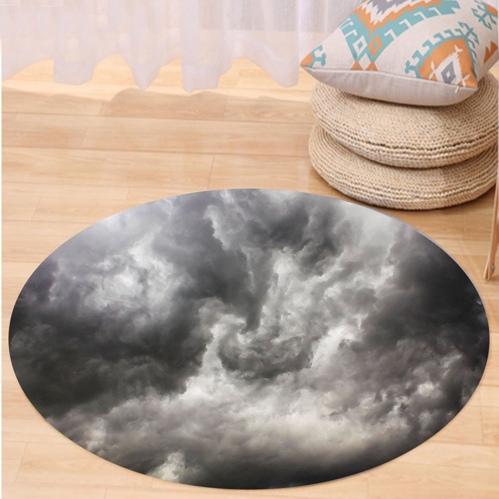 VROSELV Custom carpetGrey Decor Weather Stormy Gloomy Air Clouds Lightings Scary Horror Movie Inspired Photo for Bedroom Living Room Dorm Gray and White Round 79 inches