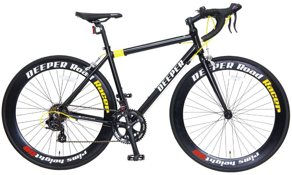 DEEPER(ディーパー) 700×26C ロードバイク 480mm シマノ14段変速 アルミフレーム LEDライト装備 DE-7048 ブラック×イエロー B06XXTVXPD