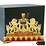Hand Painted Enamel Menorah Candelabra Embellished with Gold Accents and Crystals by Matashi (Lion)