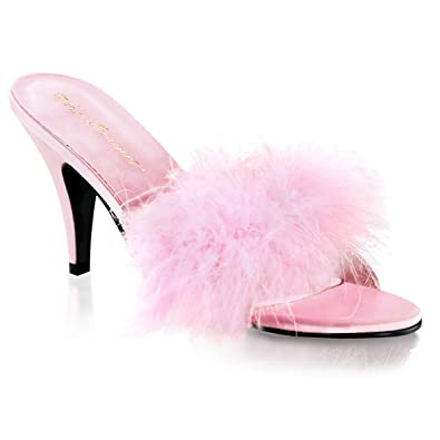 038849aec47a7 3 Inch Classic Marabou Slipper Faux Fur Sexy Shoes Baby Pink Satin