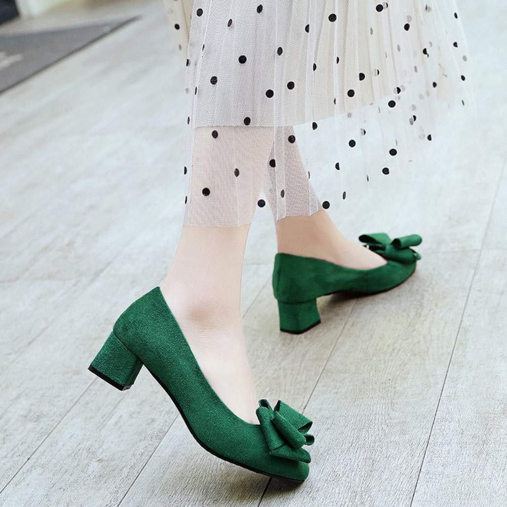 heipeiwa Womens Square Toe Chuncky Block Heel Big Bow Pumps Mid Heels Dress Pumps