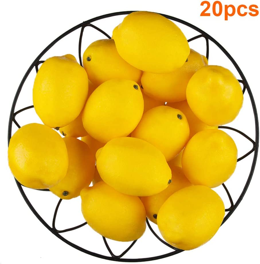 20 PCS Yellow Artificial Lemons, 3.7'' X 2.56'' Fake Fruit Lemons Artificial Lifelike Simulation Lemon for Home House Kitchen Party Decoration