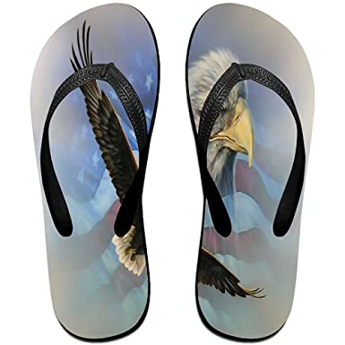 4c28910dc19f Amazon.com  Starphilad Unisex Non-slip Flip Flops Eagle Flying Eagle Head Us  Flag Cool Beach Slippers Sandal  Clothing