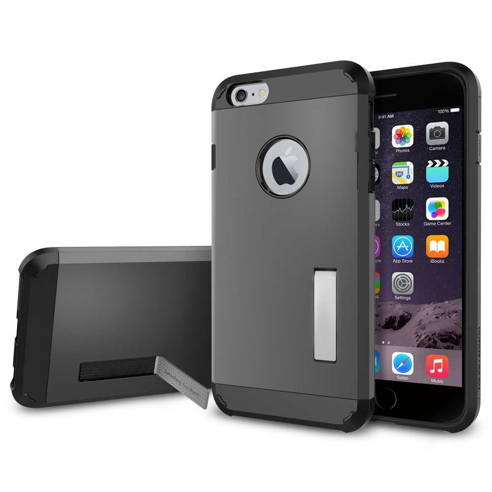 95261f5b5a Amazon.com: For iPhone 5/5S Grip Rugged TPU With PC Skin Hard Case Cover  Stand (Gray): Cell Phones & Accessories