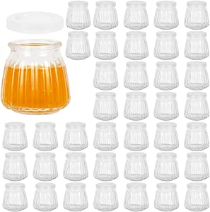 4 oz Glass Yogurt Jars with Plastic PE lids, 120 ml Glass Pudding Jars for Jam & Jelly, Honey, Baby Foods,Decor. Set of 40 Pack.