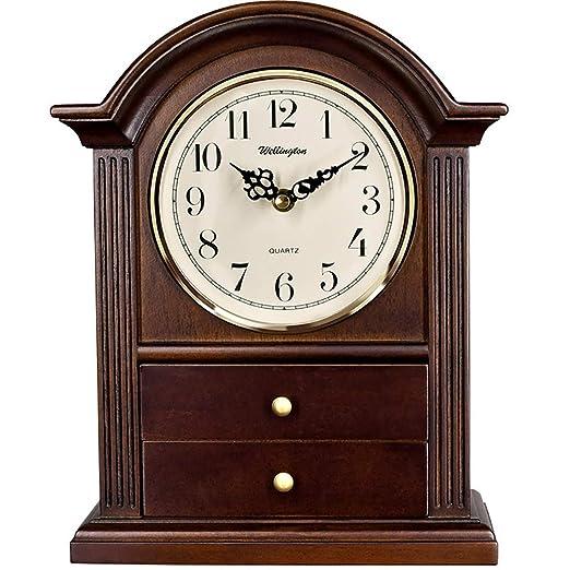 Qddan Reloj De Chimenea Reloj De Mesa De Madera Maciza Reloj De ...