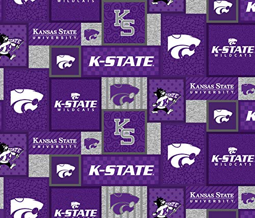 Kansas State Fleece Blanket Fabric-Kansas State Wildcats Fleece Fabric with New Patch PATTTERN-Sold by The