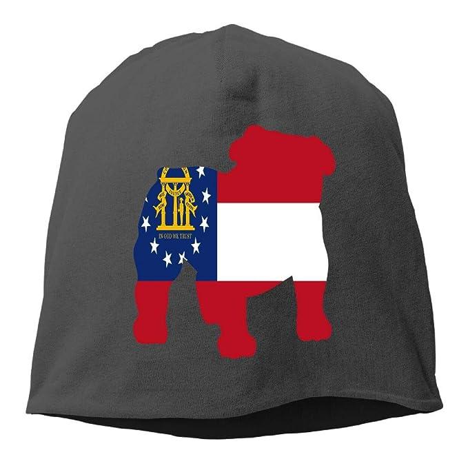 a8e77c307e4 Amazon.com  Bulldog Shape GEORGIA State Flag Skull Caps Plain ...