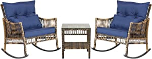 DECMICO Outdoor Rattan Rocking Chair 3 Pieces Patio Conversation Furniture Bistro Sets with Side Table and Cushions for Porch Garden and Balcony