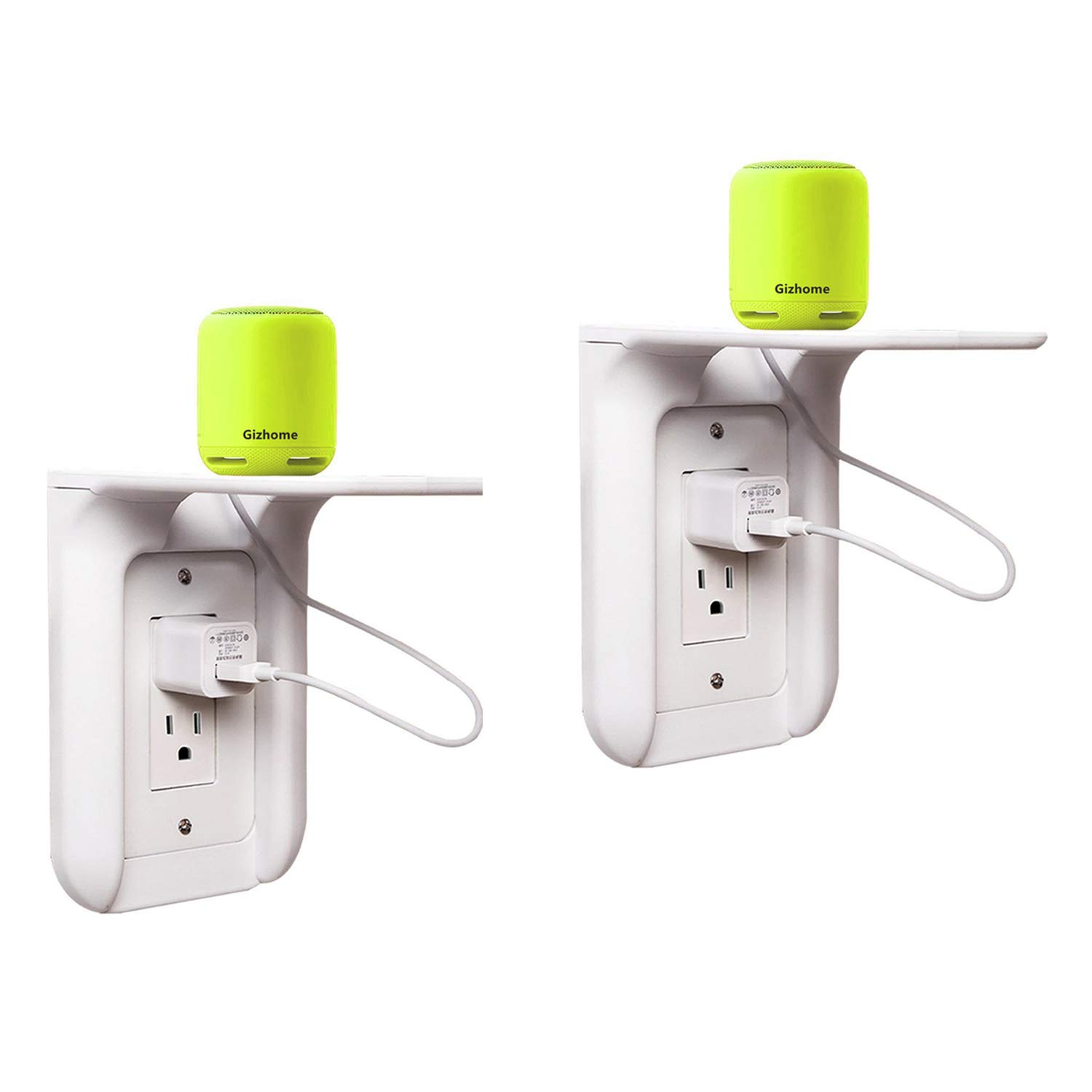 Gizhome 2 Pack Wall Outlet Shelf Power Perch, Works with Standard Vertical Duplex/Decor Outlets, Charging Shelf for Devices Up to 7lbs, Easy Installation, White by Gizhome (Image #1)