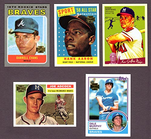 Atlanta Braves (5) Card Heros and Hall of Famer REPRINT Baseball Lot #67 (Ed Mathews) (Joe Adcock) (Hank Aaron)...
