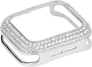 HJINVIGOUR Gorgeous Bling Zircon Crystal Diamond Case Bezel Cover Compatible Apple Watch Series 6 5 4 3 2 1 SE (Silver, 44mm/42mm)
