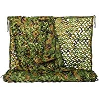 NINAT Woodland Camo Netting Camouflage Net for Camping Military Hunting Shooting Sunscreen Nets 3.25x6.5ft,6.5x10ft,5x13ft,10x10ft,10x16.4ft,6.5x16.4ft,6.5x20ft,6.5x26ft,13x16.5ft,13x20t,20x20ft