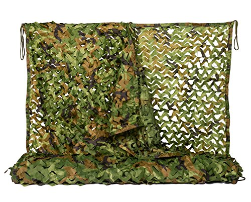 Camo Netting 6.5x10ft Woodland Camouflage Net for Camping Military Hunting Shooting Sunscreen Nets