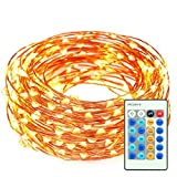 Christmas Lights LED String Lights 33ft 100 LEDs Remote Control with Dimmable Amysen Complete Waterproof Decorative Lighting for Bedroom, Wedding, Garden, Party (Warm White, Copper Wire Lights )